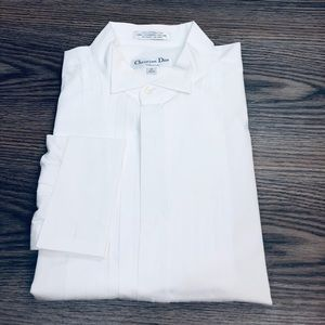 Christian Dior White Formal Tux Tuxedo Shirt 17